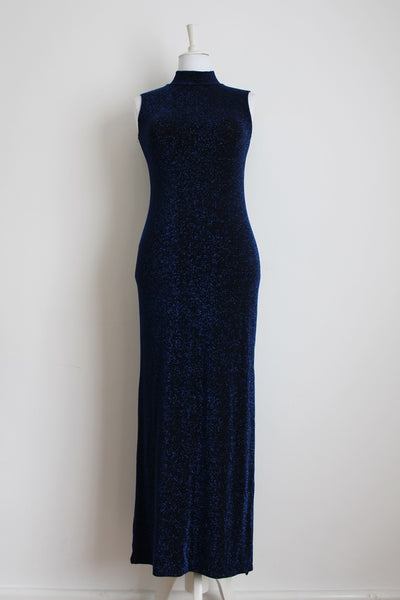VINTAGE BLUE BLACK SHIMMER STRETCH FITTED EVENING DRESS - SIZE M/L