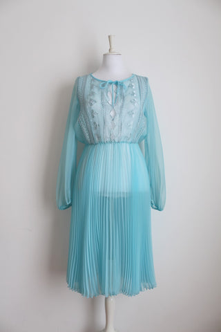 VINTAGE EMBROIDERED PLEATED BABY BLUE SHEER OVERDRESS - SIZE 10