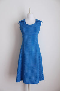 VINTAGE POLKA DOT PRINT BLUE WHITE DAY DRESS - SIZE 14
