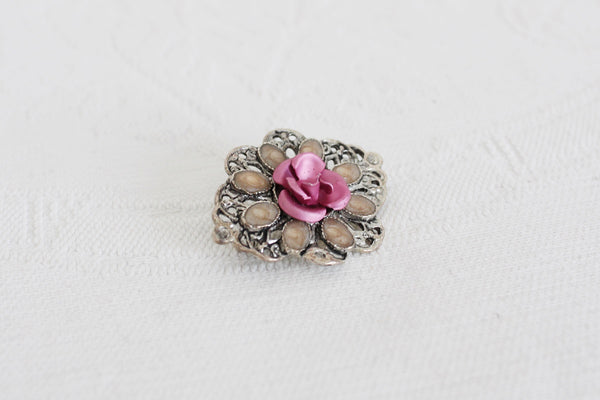 VINTAGE PINK ROSE SILVER TONE BROOCH PIN