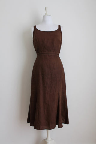 *GERRY WEBER* DESIGNER LINEN BROWN TIE WAIST DRESS - SIZE 12