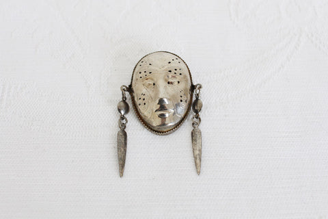 VINTAGE MASK SILVER TONE BROOCH PIN
