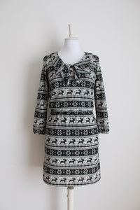*MARI & ME* DESIGNER BLACK GREY KNIT DRESS - SIZE M