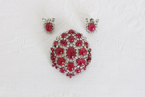 CHRISTIAN DIOR DESIGNER VINTAGE PINK BROOCH EARRINGS SET