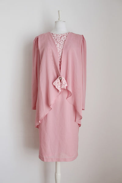 VINTAGE PINK OVERLAY LACE COCKTAIL DRESS - SIZE 12