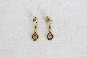 9CT GOLD DIAMOND VINTAGE TEARDROP EARRINGS