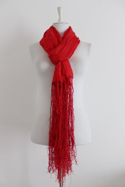 100% SILK RED WOOLWORTHS SCARF