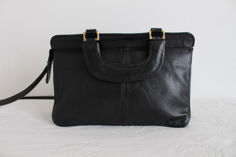 GENUINE LEATHER VINTAGE BLACK HANDLES SLING BAG