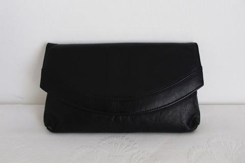VINTAGE GENUINE LEATHER BLACK CLUTCH BAG
