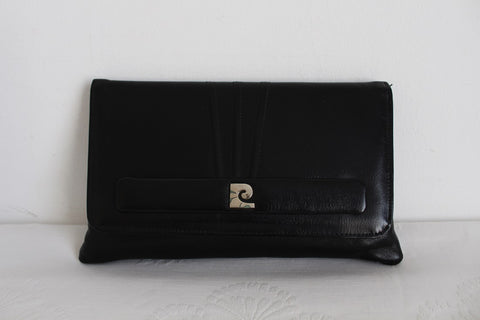 PIERRE CARDIN PARIS DESIGNER VINTAGE BLACK CLUTCH