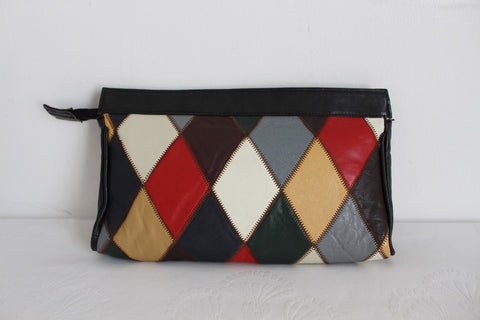 VINTAGE GENUINE LEATHER DIAMOND PATCH CLUTCH