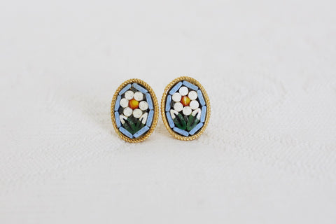 VINTAGE MICRO MOSAIC FLOWER GOLD TONE STUD EARRINGS