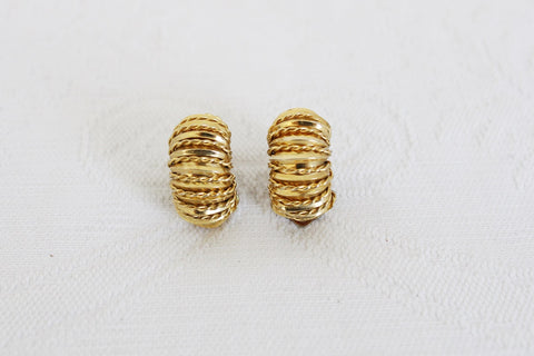 VINTAGE GOLD TONE ROPE HUGGIE CLIP-ON EARRINGS