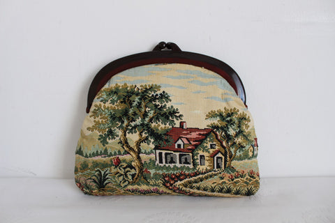 VINTAGE TAPESTRY FARM HOUSE CLUTCH BAG