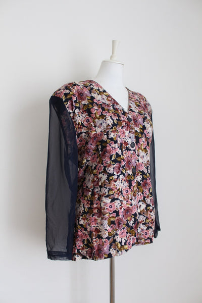 VINTAGE FLORAL PINK NAVY SHEER SLEEVES BLOUSE - SIZE 18