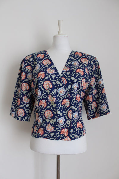 VINTAGE NAVY FLORAL PRINT DOUBLE BREASTED BLOUSE - SIZE 14