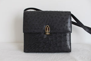 *GENUINE OSTRICH SKIN* CORBEAU VINTAGE GREY BOX BAG