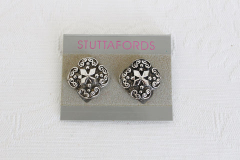 STUTTAFORDS VINTAGE CLOVER CROSS SILVER TONE CLIP-ON EARRINGS