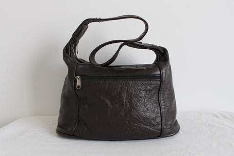 GENUINE LEATHER BROWN LARGE SHOULDER BAG TOTE
