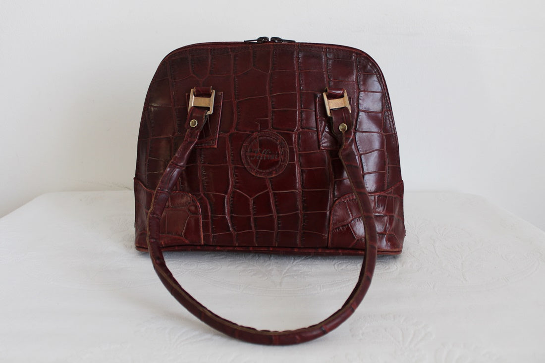 FELLINI CROC GENUINE LEATHER RED HANDBAG