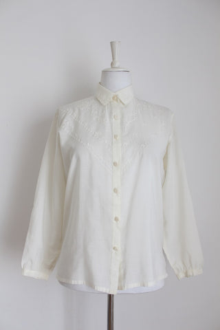 VINTAGE FINE EMBROIDERY OFF WHITE SHIRT - SIZE 12