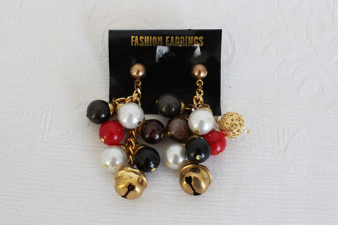 VINTAGE BELL BEADED CLUSTER DROP EARRINGS