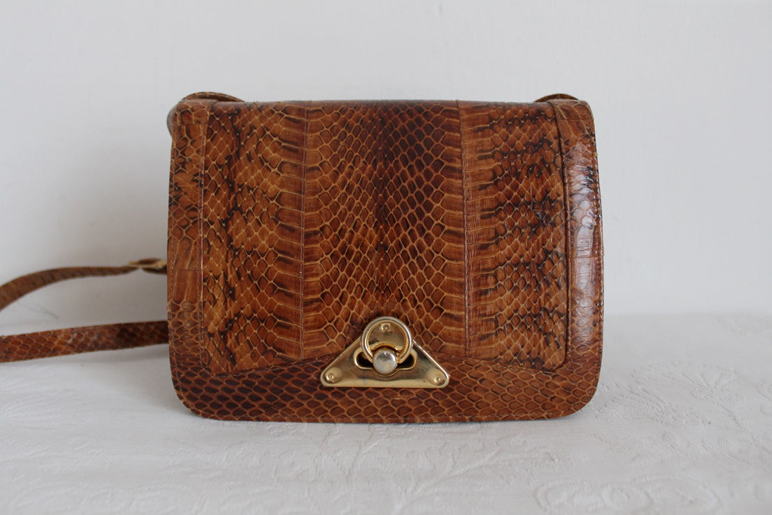 GENUINE SNAKE SKIN VINTAGE BROWN HANDBAG
