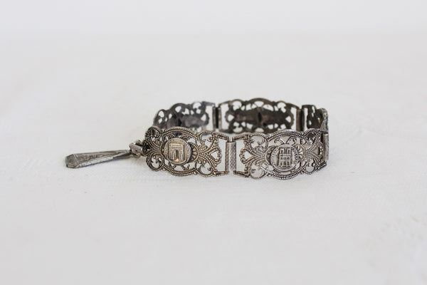 VINTAGE SILVER PLATED FILIGRANE DEPOSE PARIS TRAVEL BRACELET