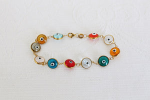 VINTAGE STERLING SILVER GOLD PLATED EVIL EYE BRACELET