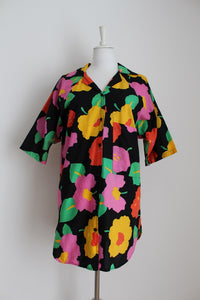VINTAGE MULTICOLOUR OVERSIZE COTTON SHIRT - SIZE 12