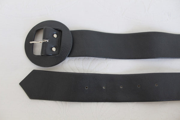 VINTAGE GENUINE LEATHER GREY WAIST BELT