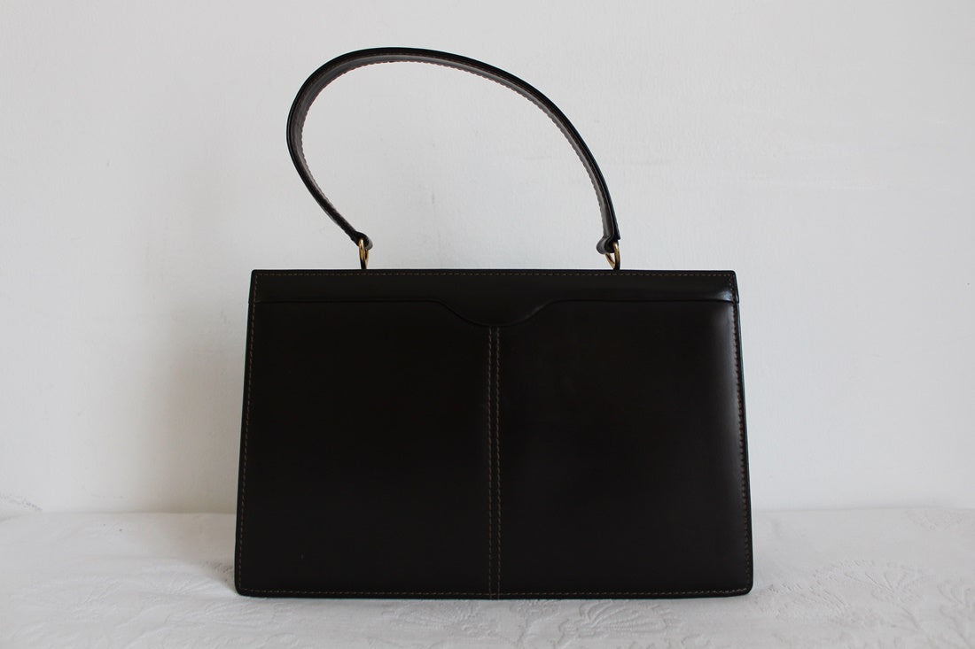 VINTAGE GENUINE PATENT LEATHER BROWN KELLY BAG