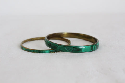 GENUINE MALACHITE STONE VINTAGE BRASS BANGLES