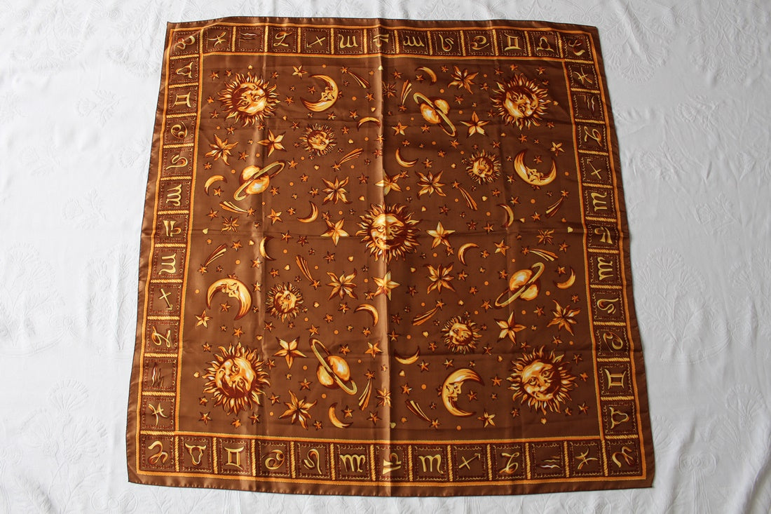 VINTAGE ZODIAC BROWN GOLD PRINT SILK SCARF