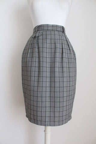 VINTAGE GINGHAM CHECK BLACK WHITE PENCIL SKIRT - SIZE 8