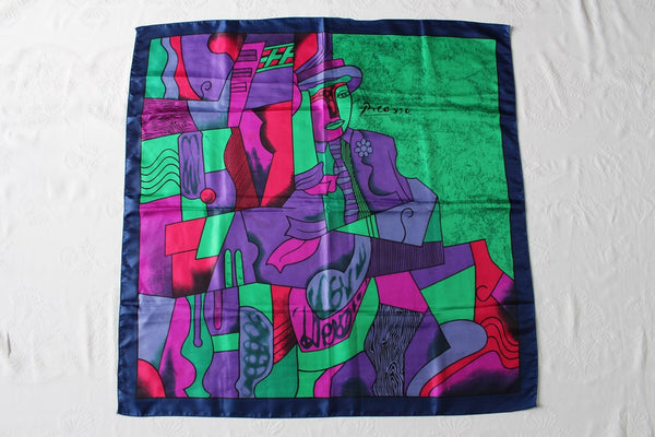 VINTAGE PICASSO MAN WITH HAT PORTRAIT CUBIST PRINT GREEN SCARF