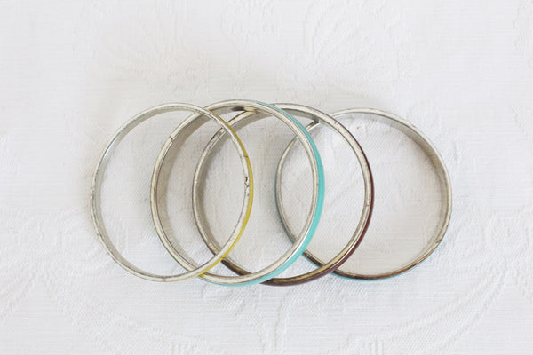 VINTAGE MULTICOLOUR BONE INLAY SILVER TONE BANGLES