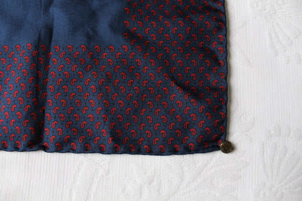 *100% SILK* NAVY RED PAISLEY POCKET SQUARE SCARF - ITALY