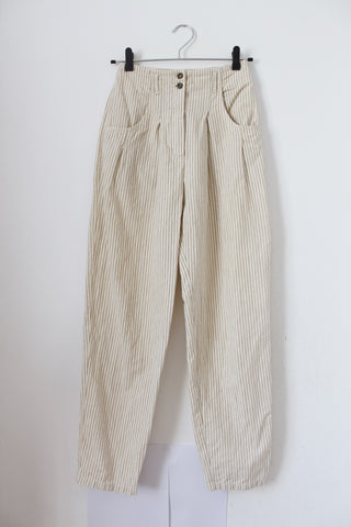 VINTAGE LINEN BEIGE STRIPE HIGH WAIST TROUSERS - SIZE 6