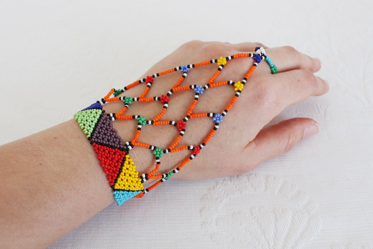AFRICAN BEADED MULTICOLOUR RING BRACELET