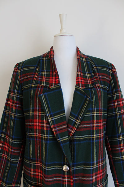 VINTAGE TARTAN PLAID GREEN RED LONG LENGTH BLAZER - SIZE 16