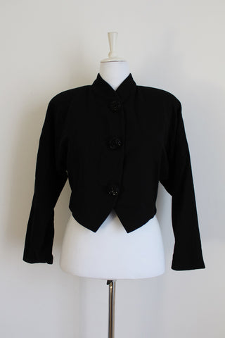 VINTAGE BEADED BUTTON BLACK WOOL CROPPED JACKET - SIZE 14