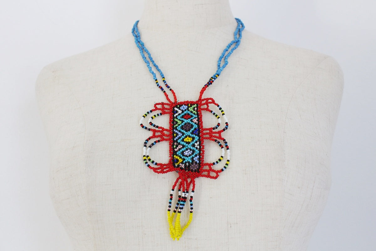 AFRICAN BEADED MULTICOLOUR PENDANT NECKLACE