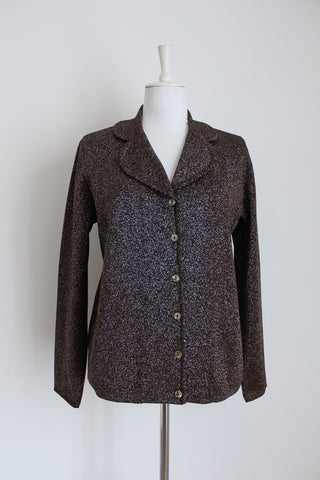 VINTAGE GLITTER BROWN SILVER JERSEY CARDIGAN - SIZE L