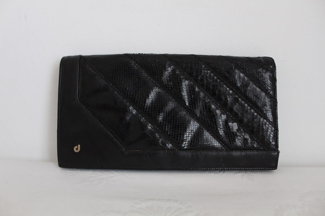 VINTAGE GENUINE SNAKE SKIN BLACK LEATHER CLUTCH BAG