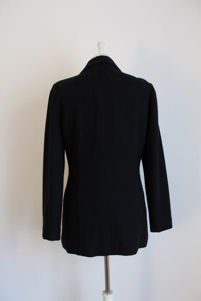 VINTAGE BLACK WOOL TAILORED BLAZER - SIZE 10