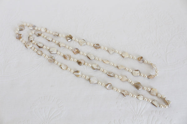 VINTAGE MOTHER OF PEARL BEADED LONG NECKLACE