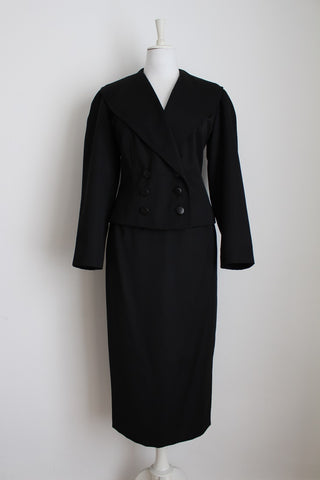 VINTAGE BLACK JACKET SKIRT TWO PIECE SUIT - SIZE 12