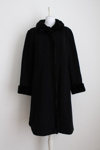 VINTAGE FAUX FUR TRIM BLACK CASHMERE WOOL COAT - SIZE 16