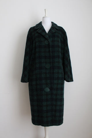 VINTAGE GREEN TARTAN CHECK WOOL COAT - SIZE XL